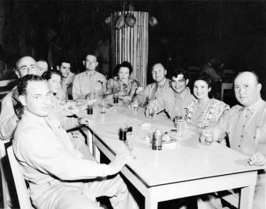 """68. Left around table: Maj. Danneker, Col. Knweliwitch, Capt. Hockman, Lt. Venna, Capt. Alford, Lt. Donley, W/O Rill, W/O Bickle"""