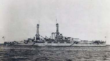 A pre-war shot of an American battleship, either the USS Pennsylvania or USS Arizona. Tackett may have acquired this picture from a souvenir shop in Pearl Harbor.