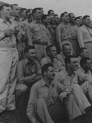 """September 1, '44."" A group of unidentified officers gathers for an event at Camp Maui."