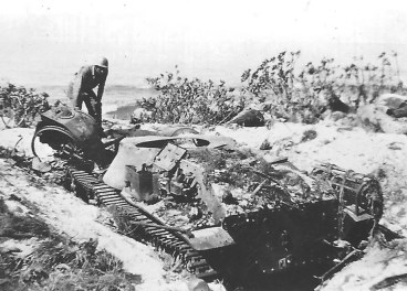 A destroyed Japanese tank, date and location unknown.