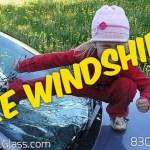 Kid breaks windshield