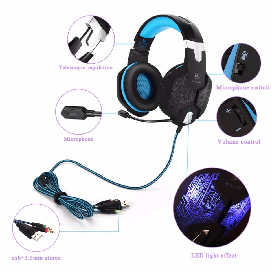 KOTION EACH PS4 Gaming Headset Deep bass Stereo Casque Wired Game Earphones Gaming Headphones with Microphone for PS4 PC Laptop