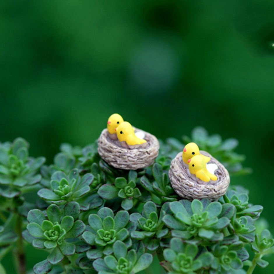 New Mini nest with birds fairy garden miniatures gnomes moss terrariums resin crafts figurines for home decoration accessories