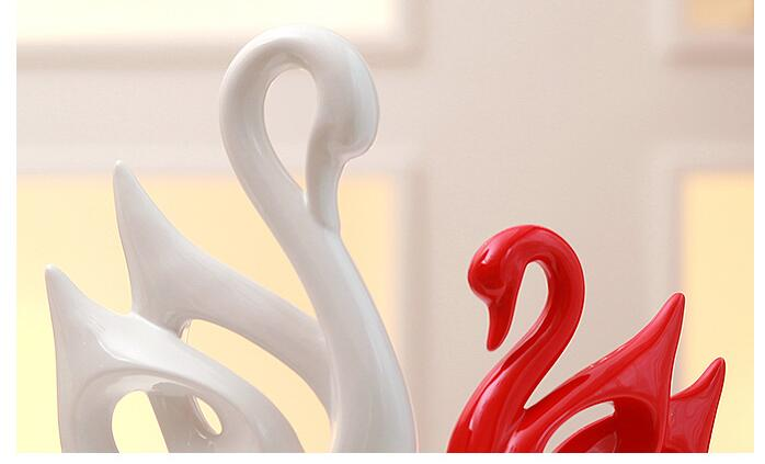 Modern Ceramic Animal Swan Deer Ornaments Bookcase Accessories Crafts Home Furnishing Livingroom Office Desktop Figurines Decor
