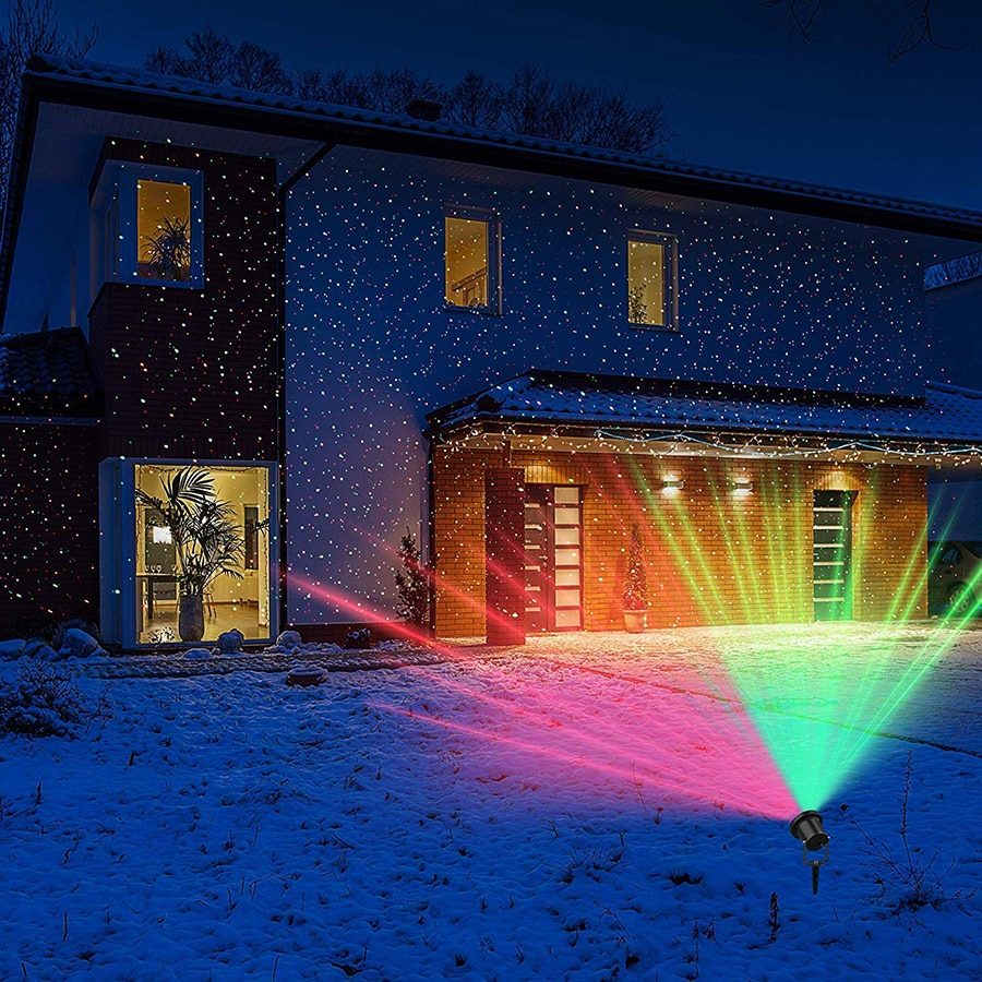 Outdoor Moving Full Sky Star Laser Projector Landscape Lighting Red&Green LED Stage Light for Christmas Party Garden Lights