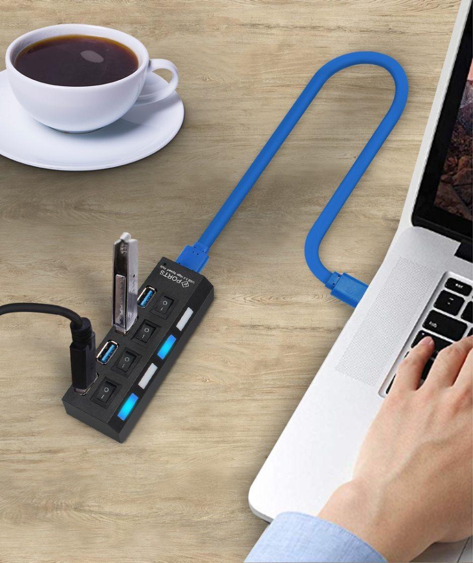 USB Hub 3.0 USB Splitter Multi USB 2.0 Hub Multiple 4/7 Port Hab Splitters With Power Adapter Computer Accessories Hub For PC