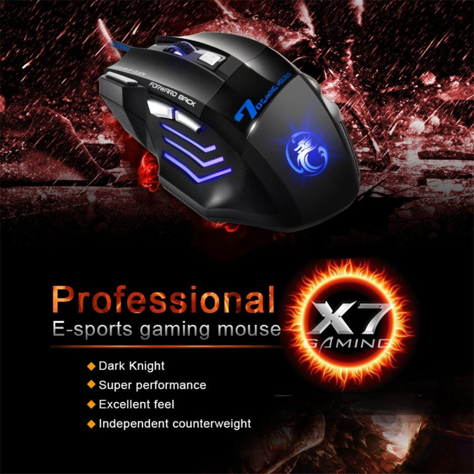 Gaming Mouse Computer Game Mouse Ergonomic Wired Gamer Mice 5500 DPI Silent Mouse Optical Backlight PC Mause 7 Button For Laptop