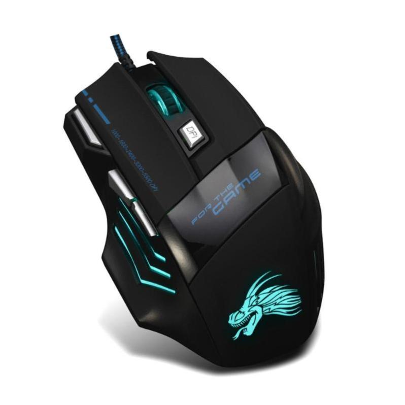 Dropship 5500DPI LED Optical Gamer Mouse USB Wired Gaming Mouse 7 Buttons Gamer Computer Mice For Laptop Mice PC