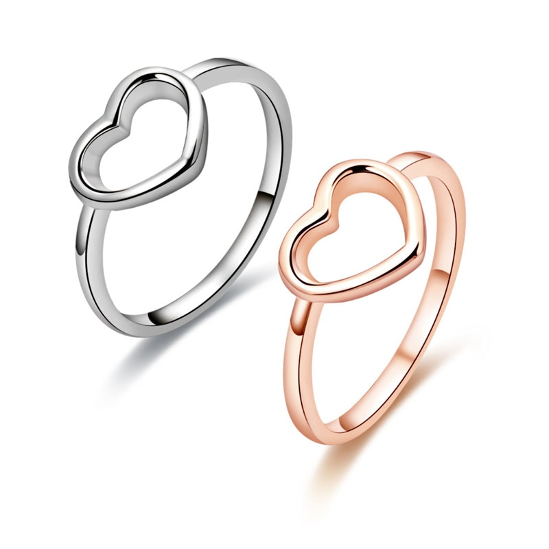 Heart Rings Gold Color Heart Shaped Wedding Ring for Woman