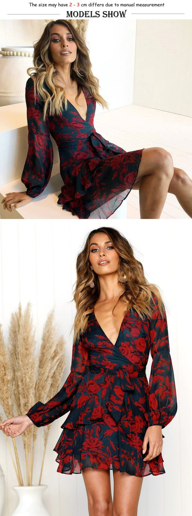 Sexy Deep V Neck Floral Printed Mini Party Dress