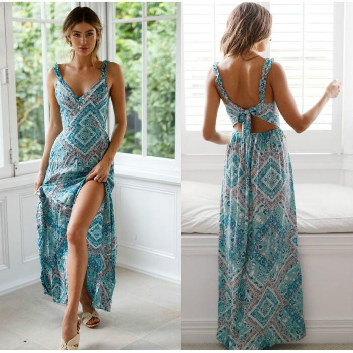 Floral Print Women Sexy Backless Dress