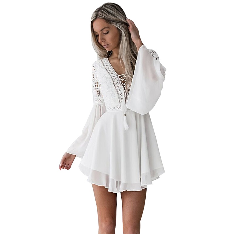 Women's Lace Embroidery Flare Sleeve Mini Dress