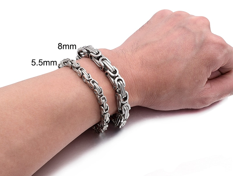 Gokadima New Product, Silver Color Stainless Steel bracelets Link Byzantine Chain Bracelet For MENS Jewelry Fashion Good quality