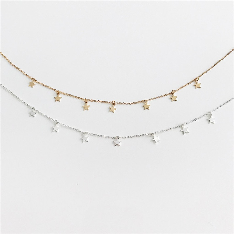 Gold Color Star Party Women's Pendant Necklace Fashion Female Choker Necklaces Jewelry Simple Ladies Pentagon-Star Jewelry Gifts