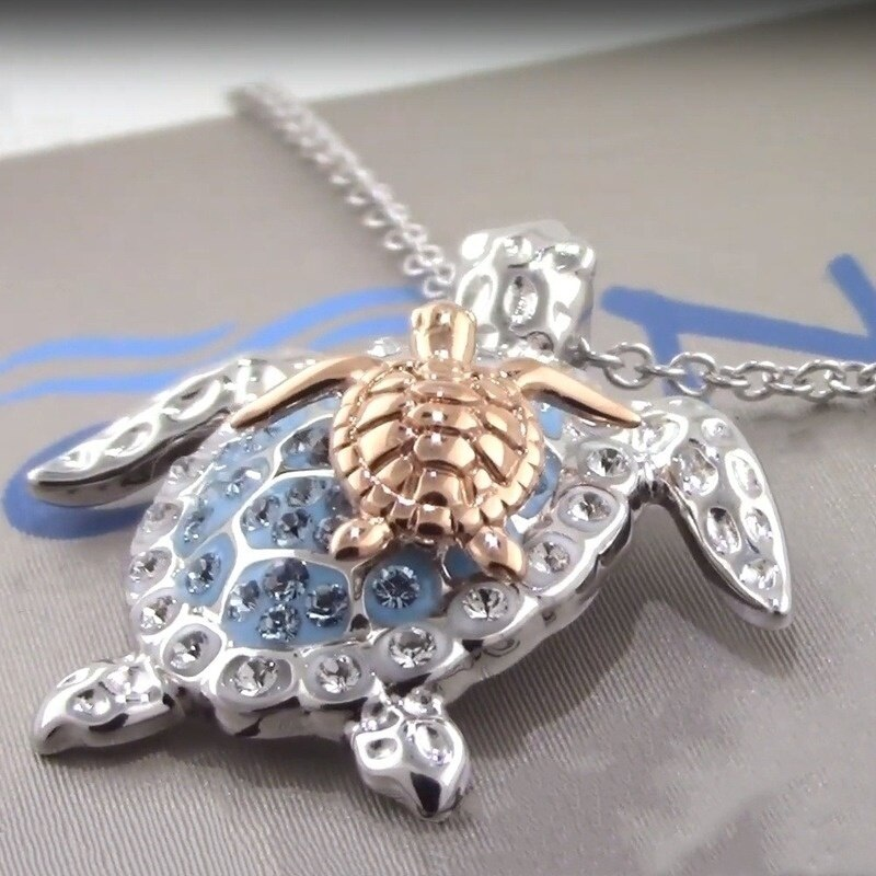 Fashion Silver Turtle Necklace with chain Sea Turtle Mother and Baby Pendant Necklaces Mother's Day Gift Women Jewelry