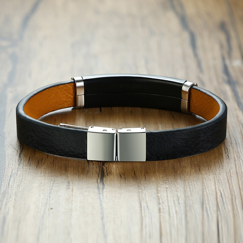 Vantage Men's Black Leather Bracelet Bangle DIY Adjustable Male Wristband Pulseira Gifts