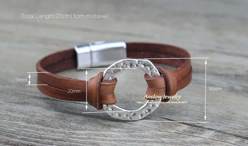 Anslow Brand Trendy Fashion Jewelry Magnetic Men's Bracelets Accessories Genuine Leather Bracelet For Man Charms Gift LOW0718LB