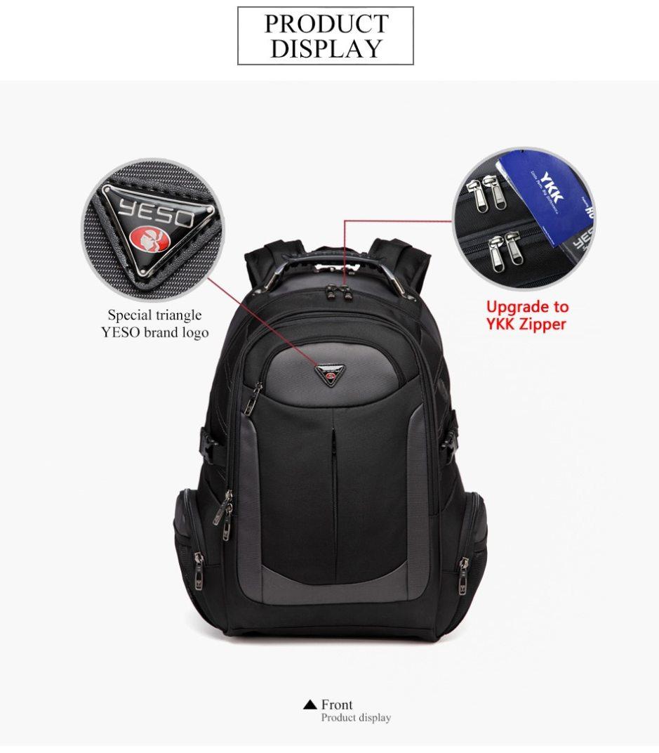 YESO Brand Laptop Backpack Men's Travel Bags 2019 Multifunction Rucksack WaterResistant Black Computer Backpacks For Teenager