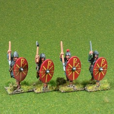 Warriors, armoured, attacking, handweapons (4)