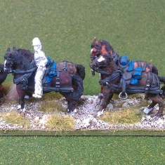 28mm Limber and horse team (kepi, mtd)