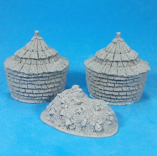2 haystacks and dung heap.