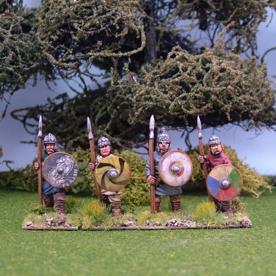 early saxon Geoguth ,(Young warriors) standing, helmets, spears(4)