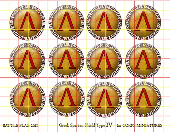 Spartan Shield Set Greek Key Design Rim