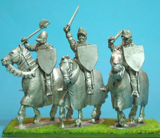 Mounted Knights, sword arm raised barded horses IV