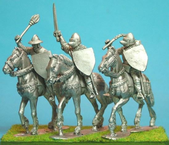 Mounted Knights, sword arm raised unbarded horses III.