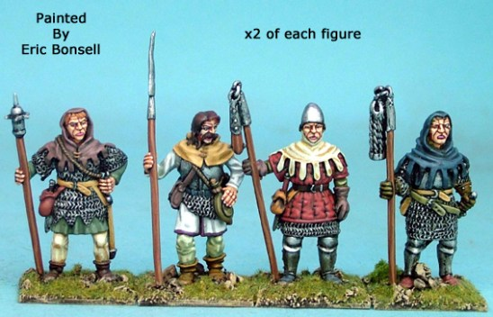 28mm late medieval hussite Men with Polearm men III