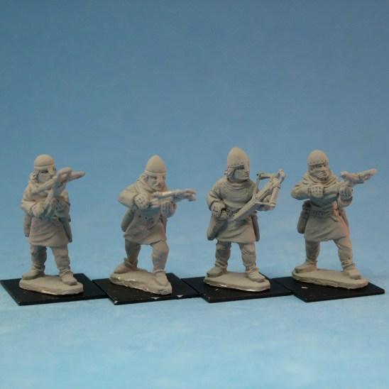 ME37a Crossbowmen wearing nasal bar and skull cap helmets