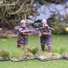 ME46a Crossbowmen in mail wearing nasal bar and skull cap helmets.