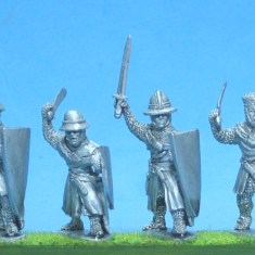 ME53 Foot knights-sergeants ass kettle helms, hand weapons att