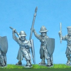 ME54 Foot knights-sergeants ass kettle helms, spears attacking