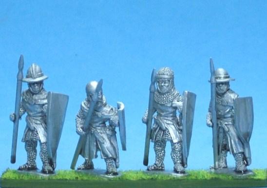 ME56 Foot knights-sergeants ass kettle helms, spears advancing