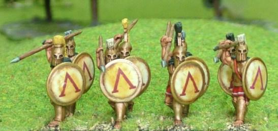 Spartan Hoplite, bell cuirass, attacking over arm.