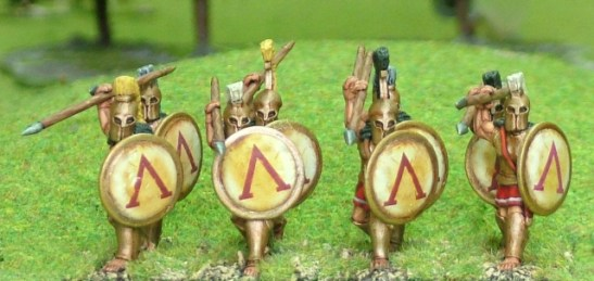 28mm Spartan Hoplite, bell cuirass, attacking over arm.