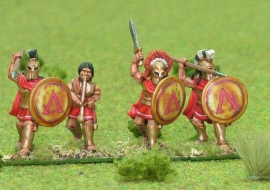 Spartan Hoplite, bell cuirass, attacking over arm, command.