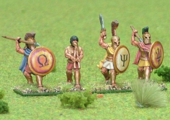 Hoplite, bell cuirass attacking, over arm, command. 4 figs
