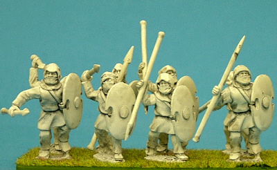 28mm Persian Spearmen with battle shields and spears.
