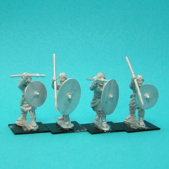 Warriors, unarmoured, attacking, bareheaded, spears (4)