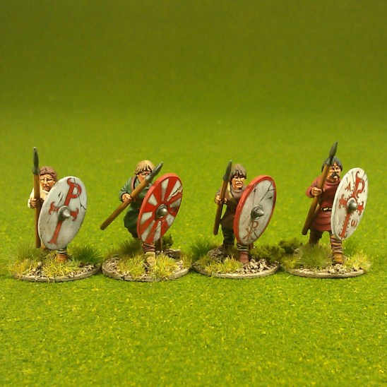Warriors, unarmoured, advancing, bareheaded, spears (4)