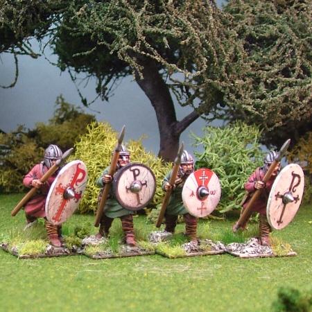 Warriors, unarmoured, advancing, helmets, spears (4)
