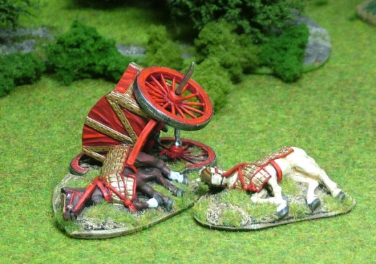 Wrecked sythed chariot