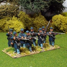 28mm American civil war Firing line in Frock Coat