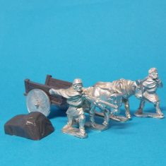 28mm Dark Age planked cart with solid wheels and covered load