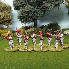 28mm Seven Years War French Infantry in campaign dress firing line.