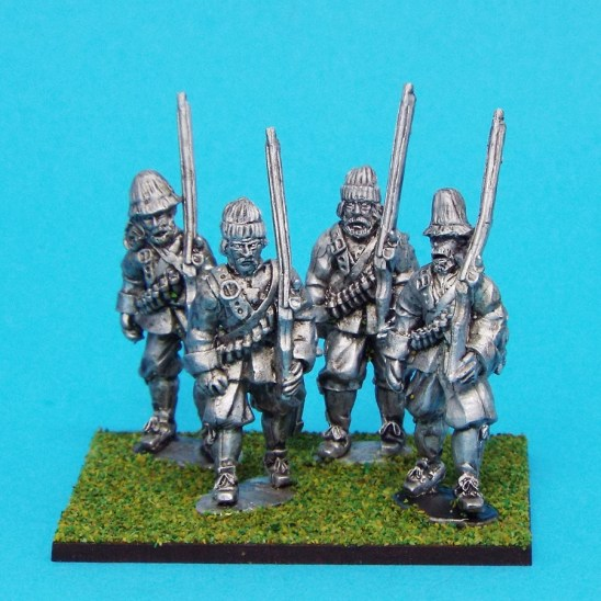 28mm english civil war Musketeers Marching Wearing Monmouth Cap Contains 4 figures. With assorted beards and moustaches.