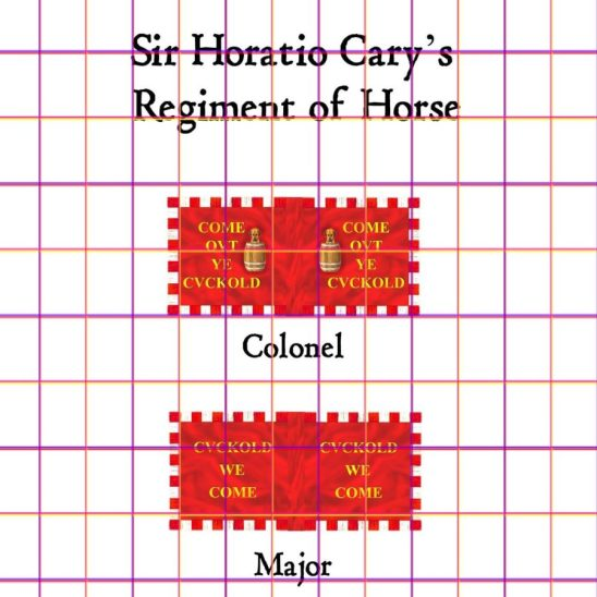 28mm English Civil War Cavalry Flags The Prince of Wales Regiment of Horse. Sir Arthur Aston's Regiment of Horse.