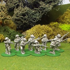 28mm BEF Riflemen with bayonets attached and helmet covers.